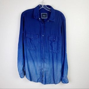 RAILS Chambray Ombre Denim Snap Front Shirt Small